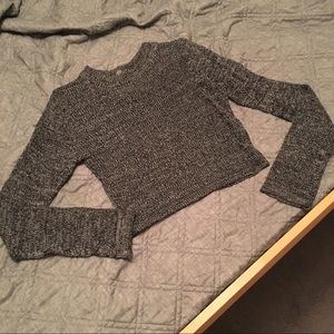 Poof! Gray marled knit cropped sweater (large)